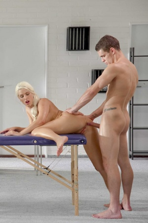 Blanche Bradburry gets oiled up & backdoor fucked on the massage table